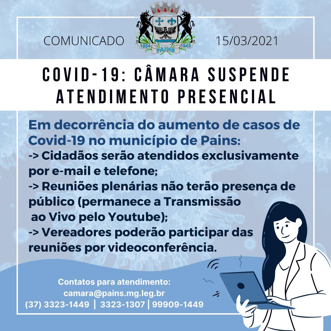 Câmara restringe presença do público devido ao aumento de casos de Covid-19