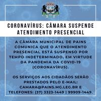Coronavírus: Câmara suspende atendimento presencial