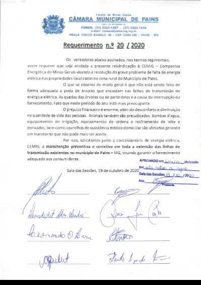 Vereadores reivindicam junto à Cemig solução para falta de energia no município